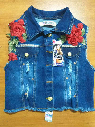 CHALECOS JEANS MUJER FLOR HOMBROS