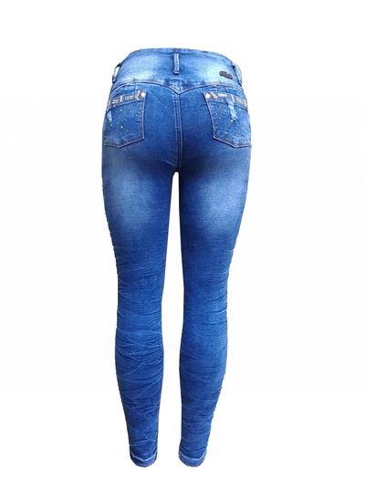 Bluette's Push-Up Skinny Jeans LAVADO QUEBRADO AZUL