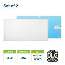 2-Pack 2 ft. x 4 ft. 50-Watt White Integrated LED 130 lm/w Edge-Lit Flat Panel T-Bar Grid Recessed Troffer Light DLC Premium