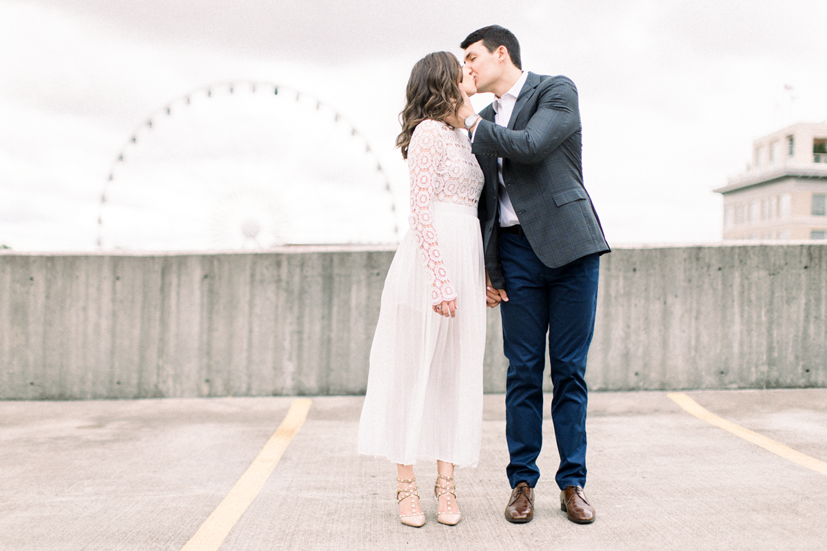 Engagement photos in downtown Atlanta in an Eternal Ivory dress