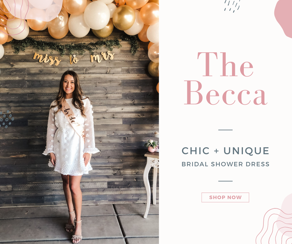 Bride to be in Eternal Ivory Becca dress, a little white dress, for her bridal shower