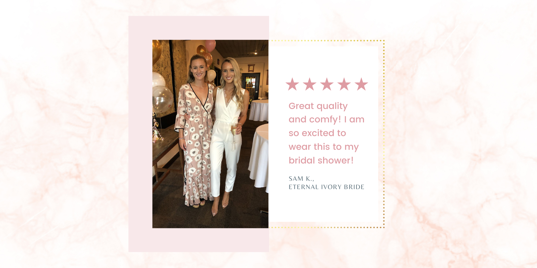 bride in long white Stacy Bridal jumpsuit for her wedding events