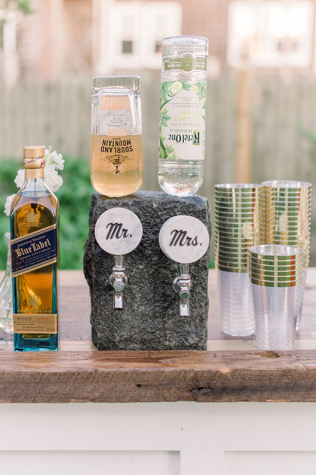 Wedding bar with Mr. and Mrs. serving spout