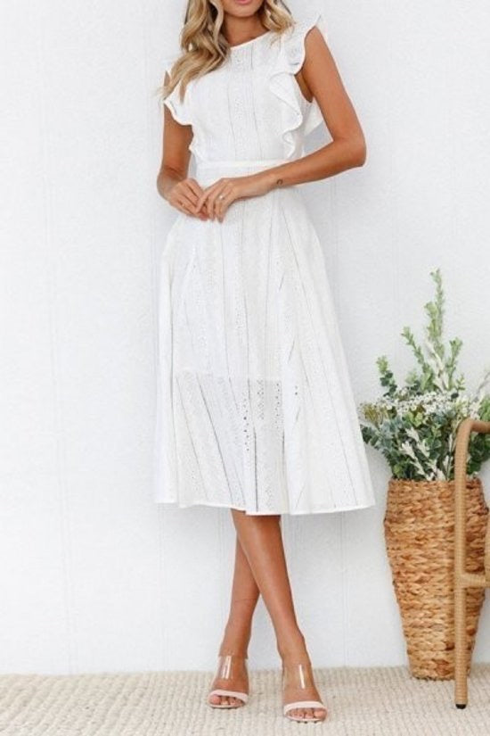 Allison | Flutter Sleeve Eyelet Midi Dress