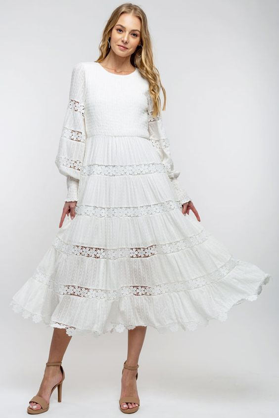 Brooke | Long Sleeve Crochet Trim Midi Dress