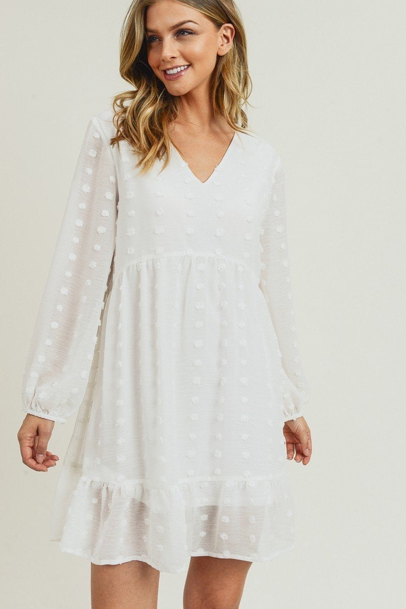 Amelia | Long Sleeve Swiss Dot Babydoll Dress