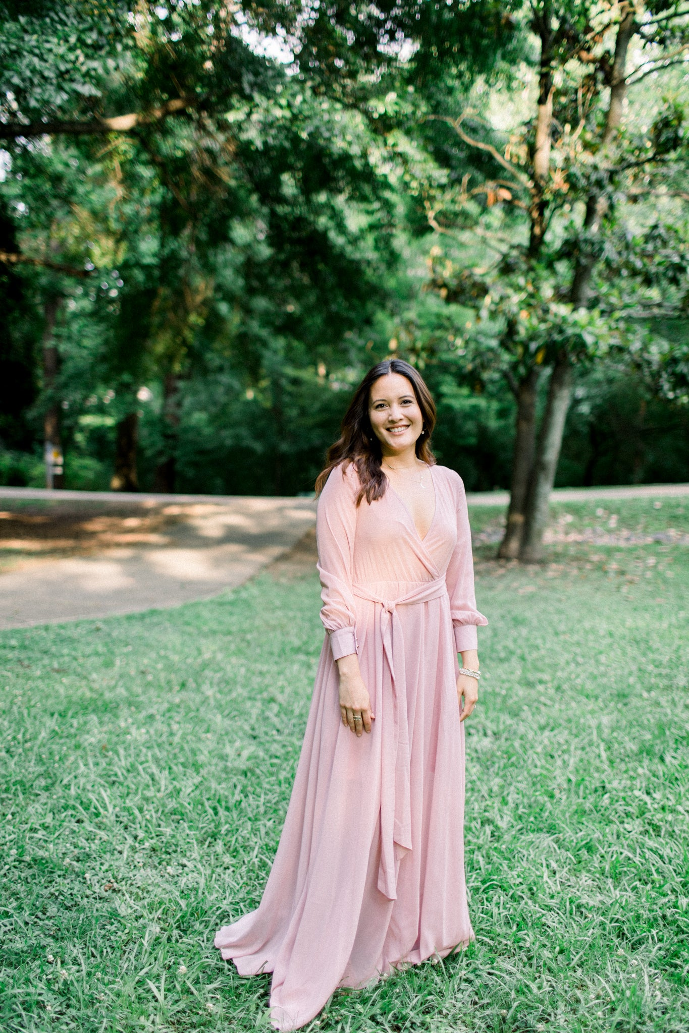 Anna | Long Sleeve Pink Maxi Dress