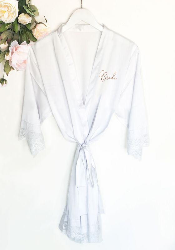 white bridal party robe for bride to be