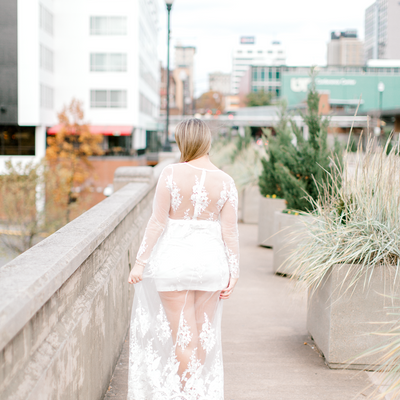 Bride-to-be wearing white lace maxi dress with sheer overlay | Bridal shower or engagement dress | The Olivia | Eternal Ivory