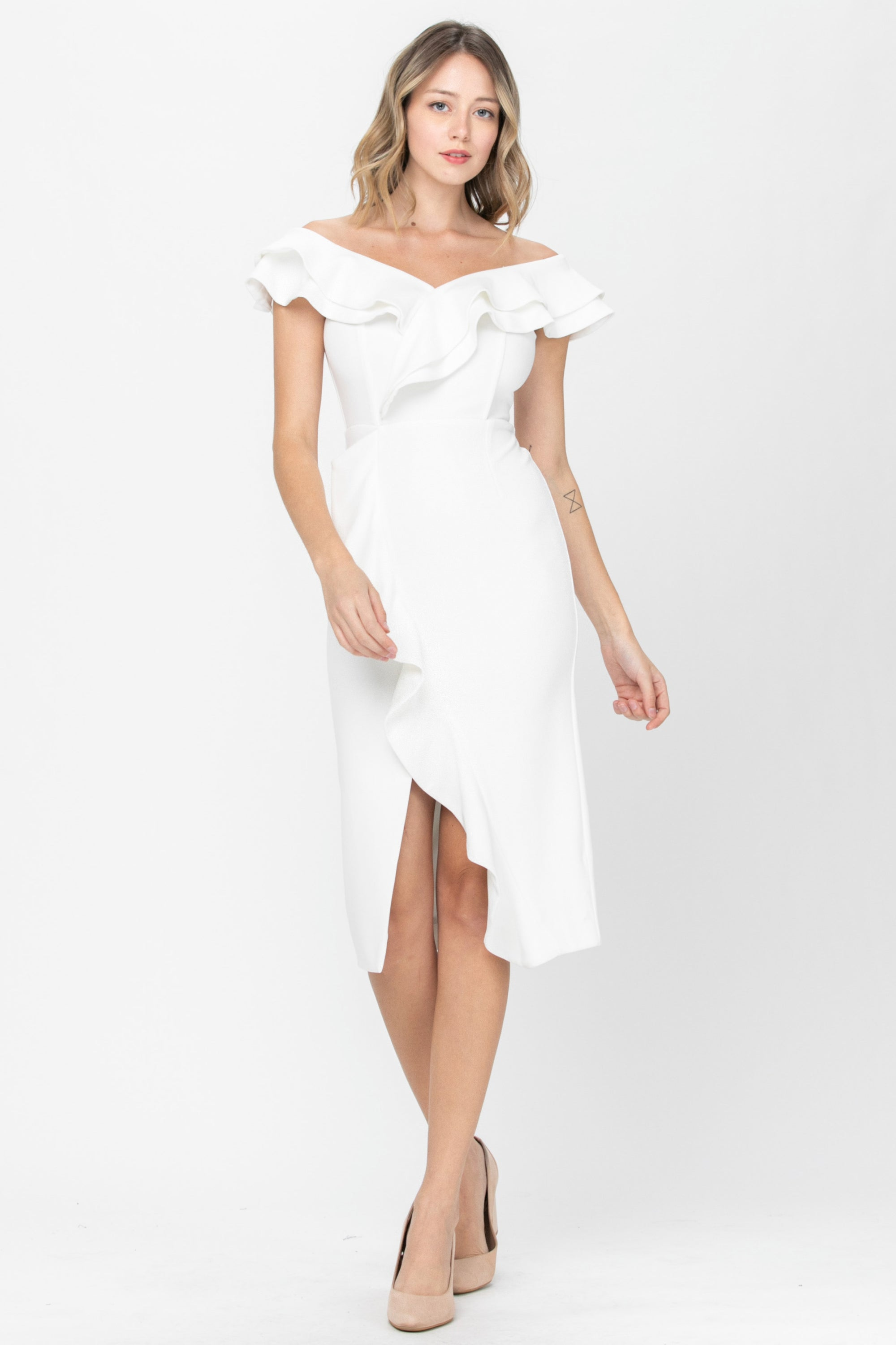 Kelsey | Fitted White Midi Dress