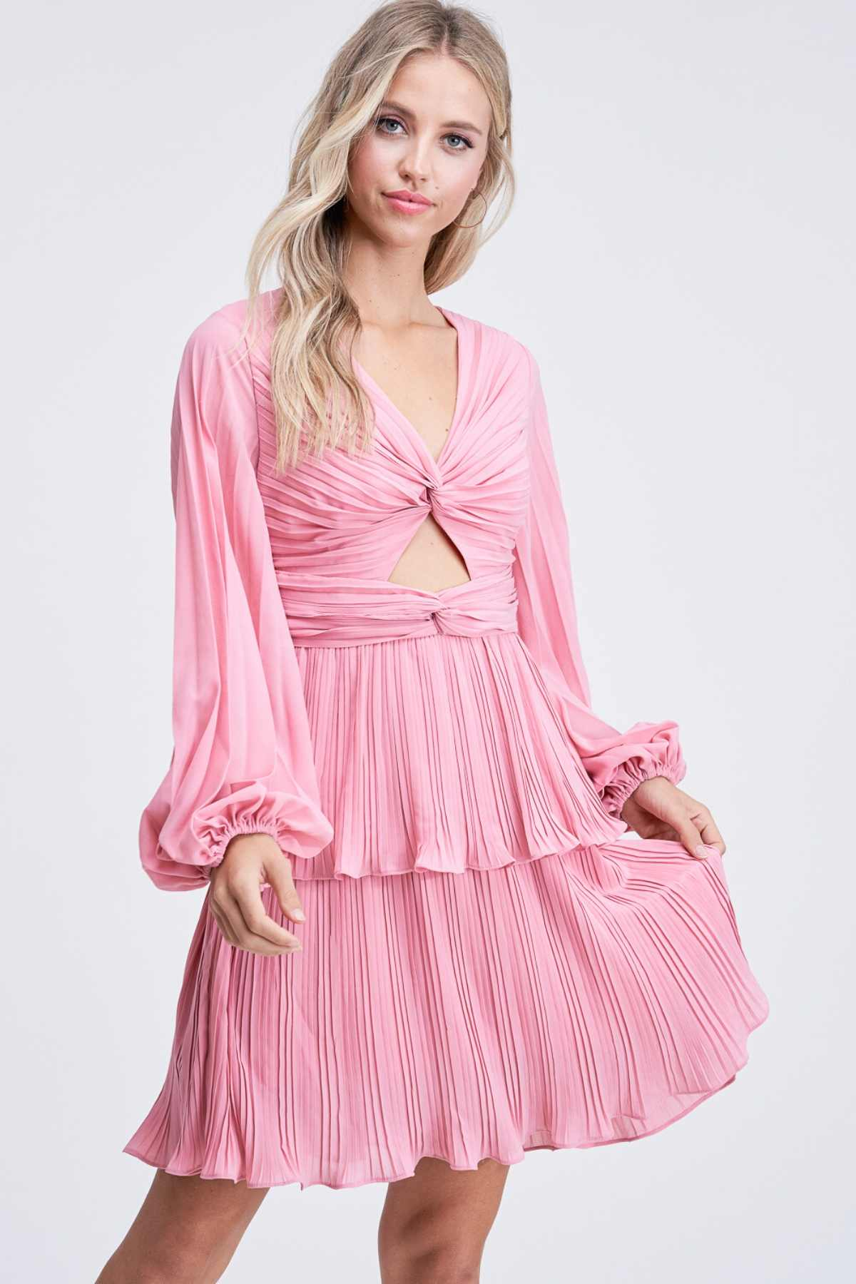 Catherine | Long Sleeve Ruffle Skirt Mini Dress