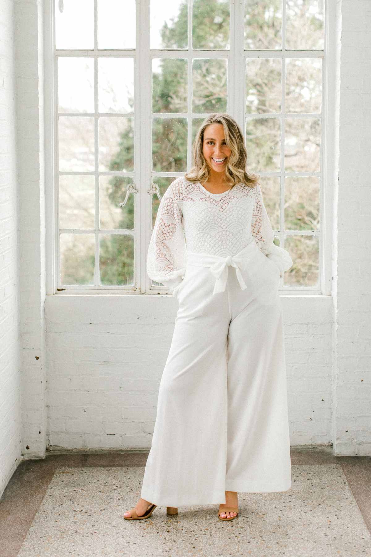 Alex | Long Sleeve Bridal Jumpsuit