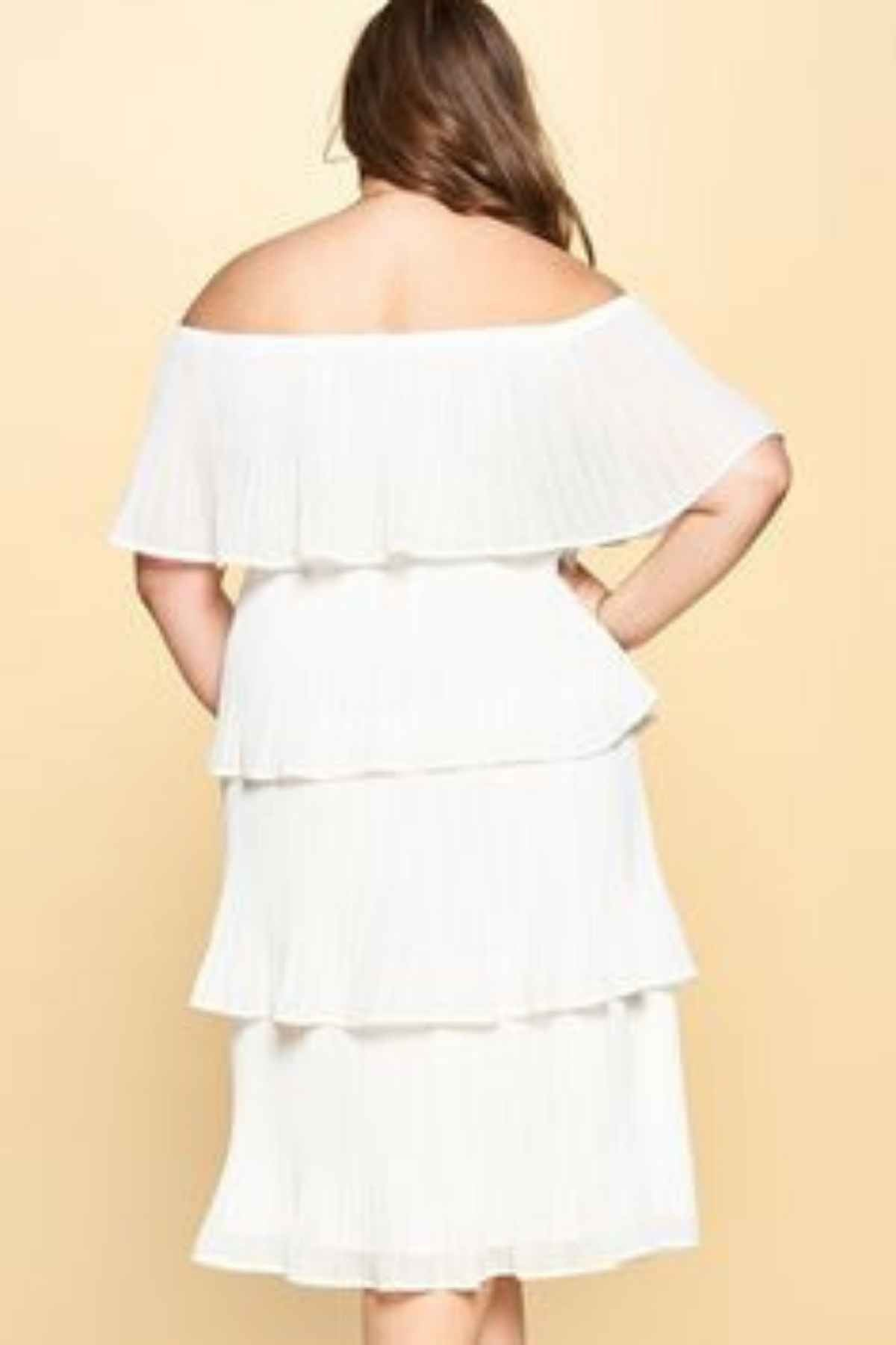 Angela *Pre-Order* | Off the Shoulder Pleated Midi Dress