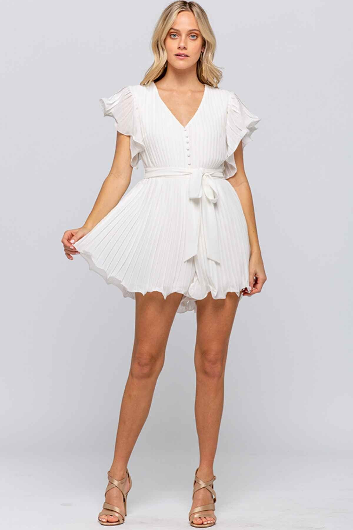Harper | Short Sleeve Pleated Ruffle Romper