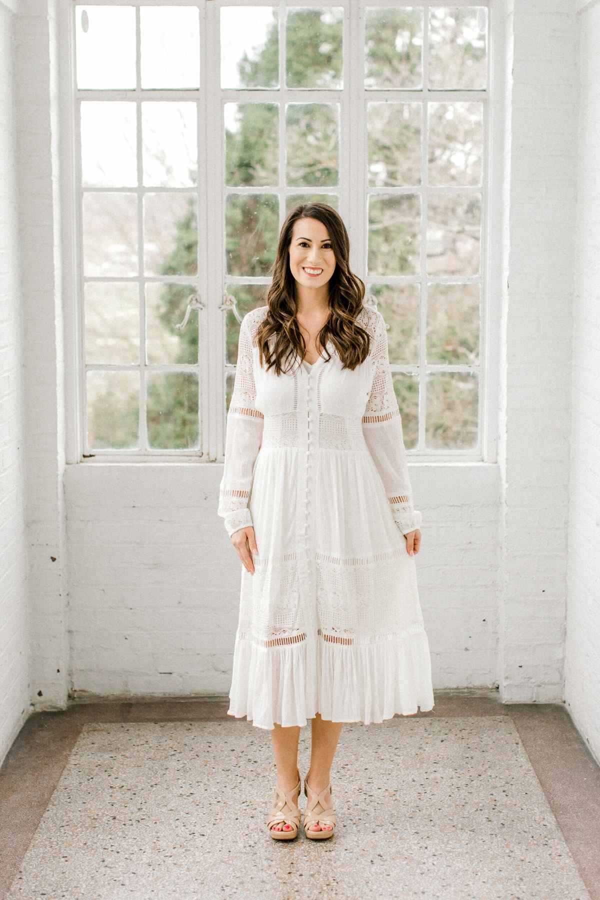 Erica | Long Sleeve Boho Midi Dress