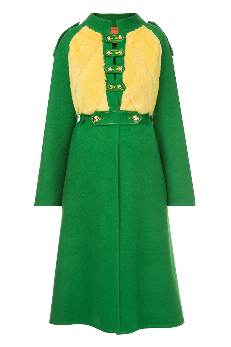Green wool coat with fur