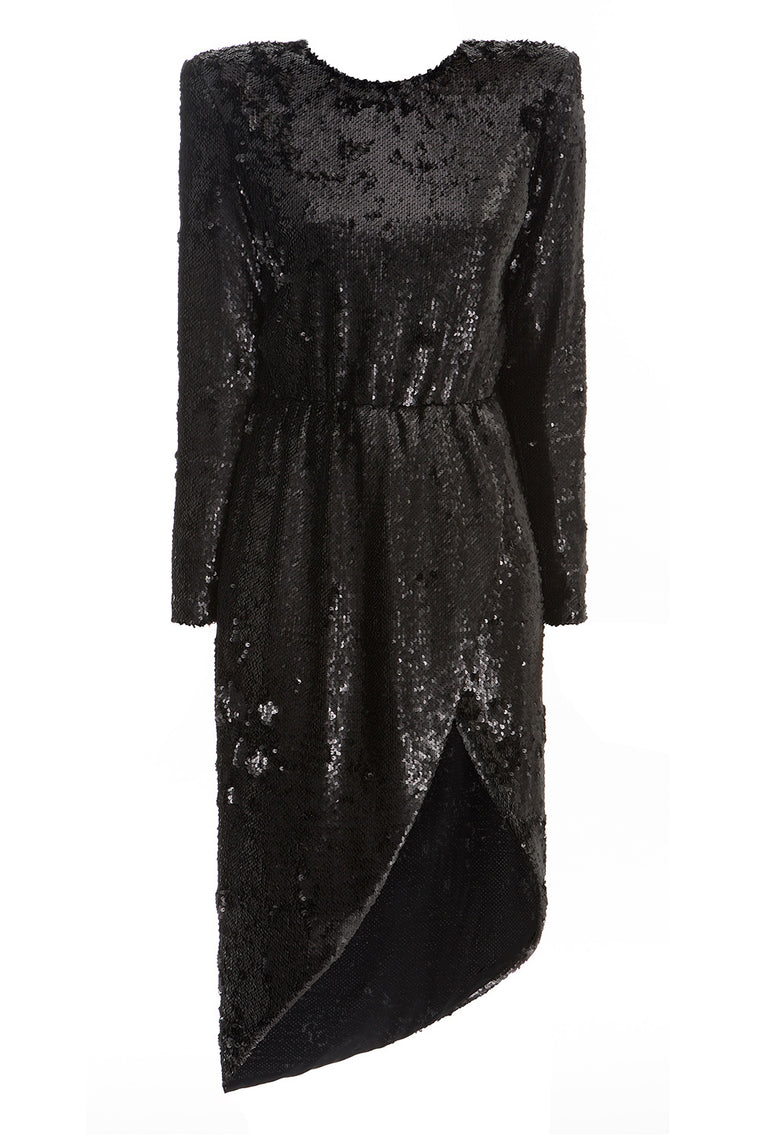 Black Sequin Wrap Dress_composition