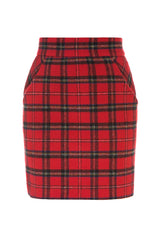Red check wool skirt