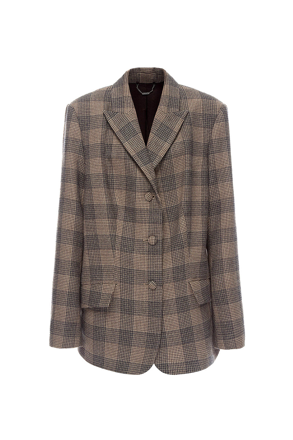 Beige Woolen Plaid Jacket