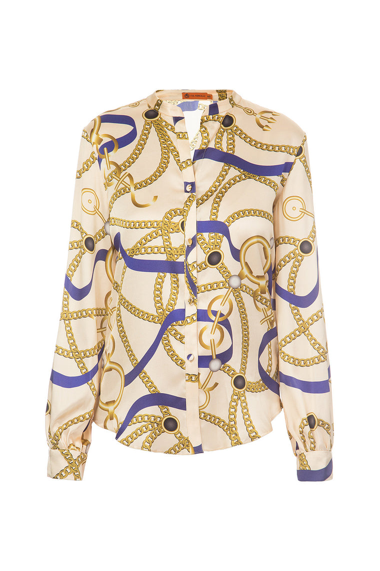 Beige silk printed blouse