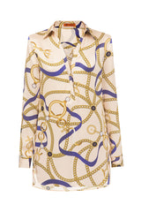 Beige silk printed shirt