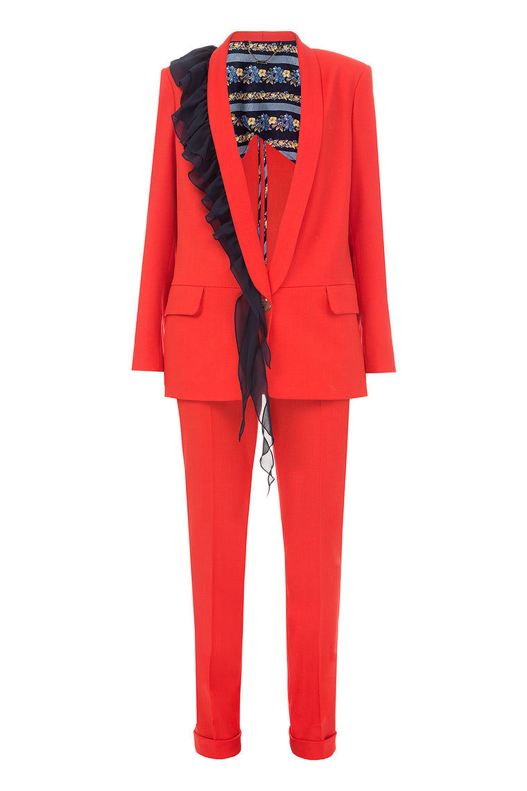 Red suit with ruches