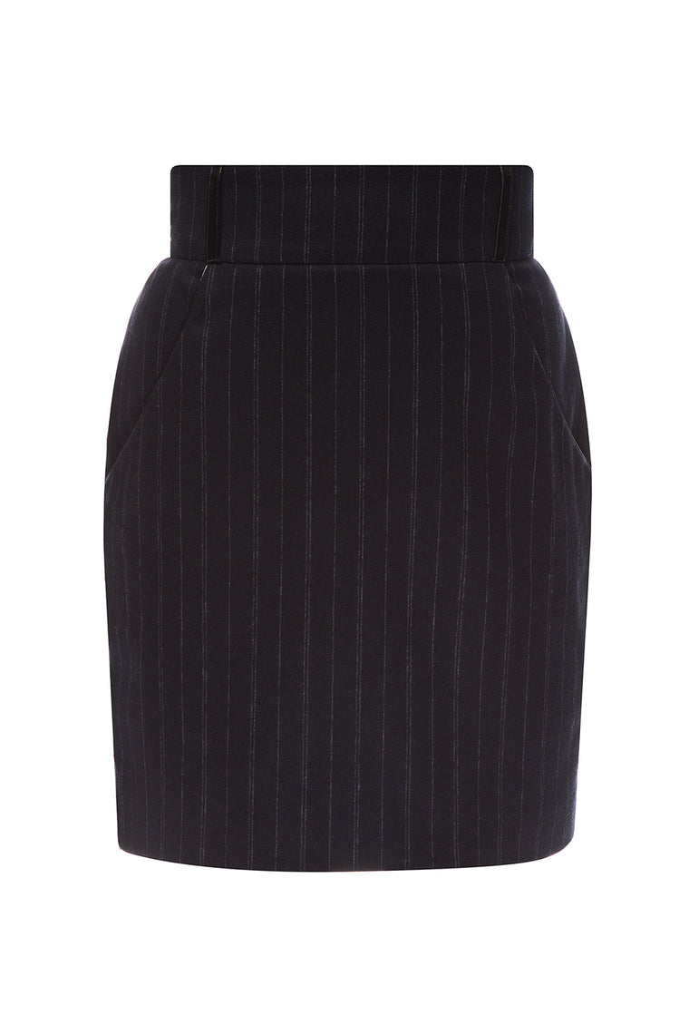 Striped dark blue woolen skirt