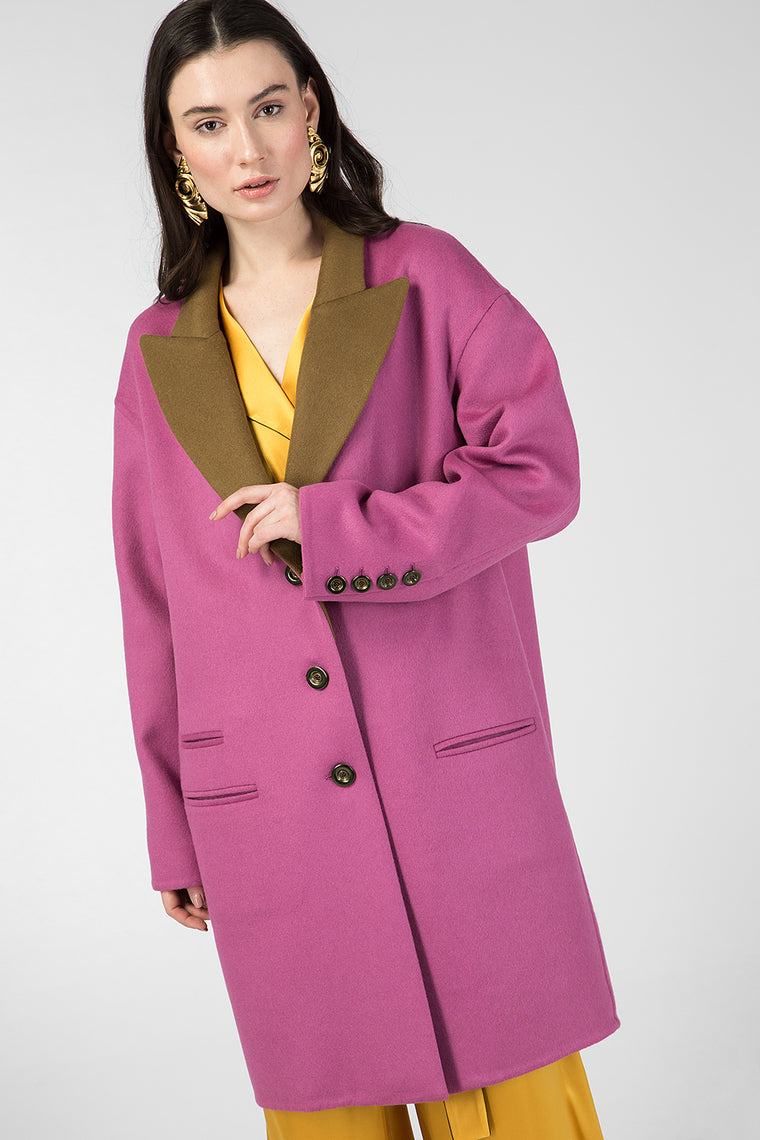 Raspberry wool coat