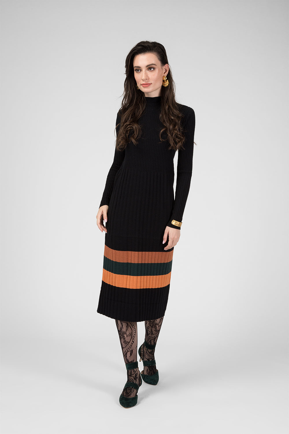 Black Knitted Dress with Pattern