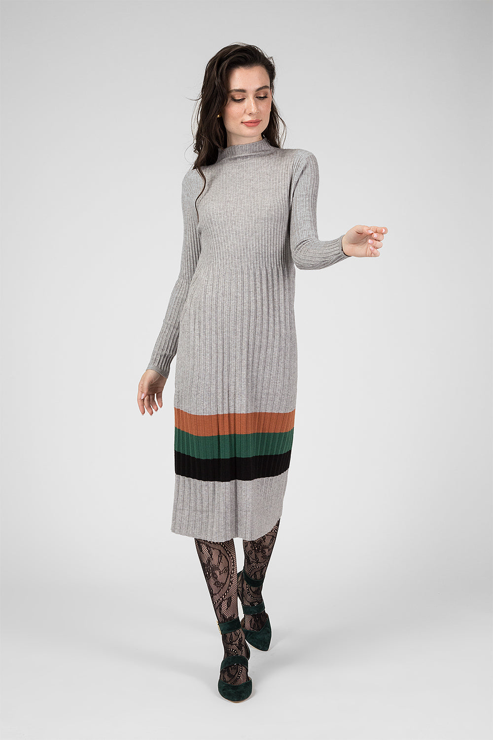 Grey Knitted Dress with Pattern