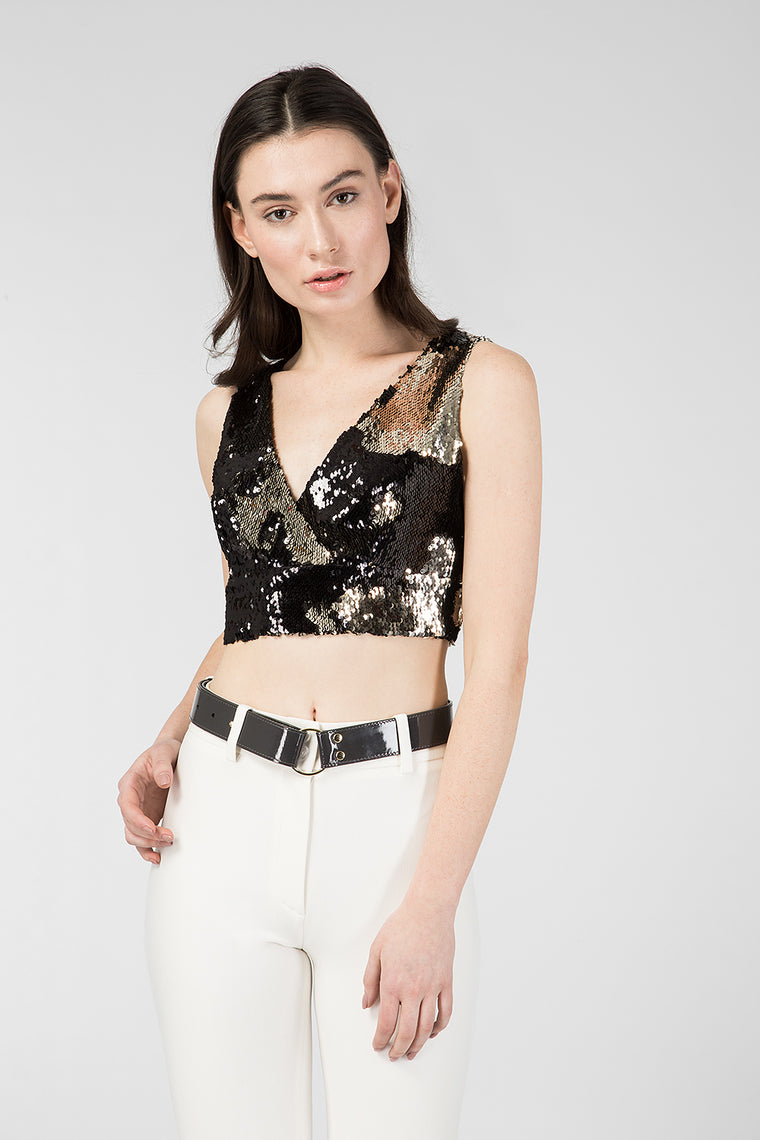 Black top with reversible sequins