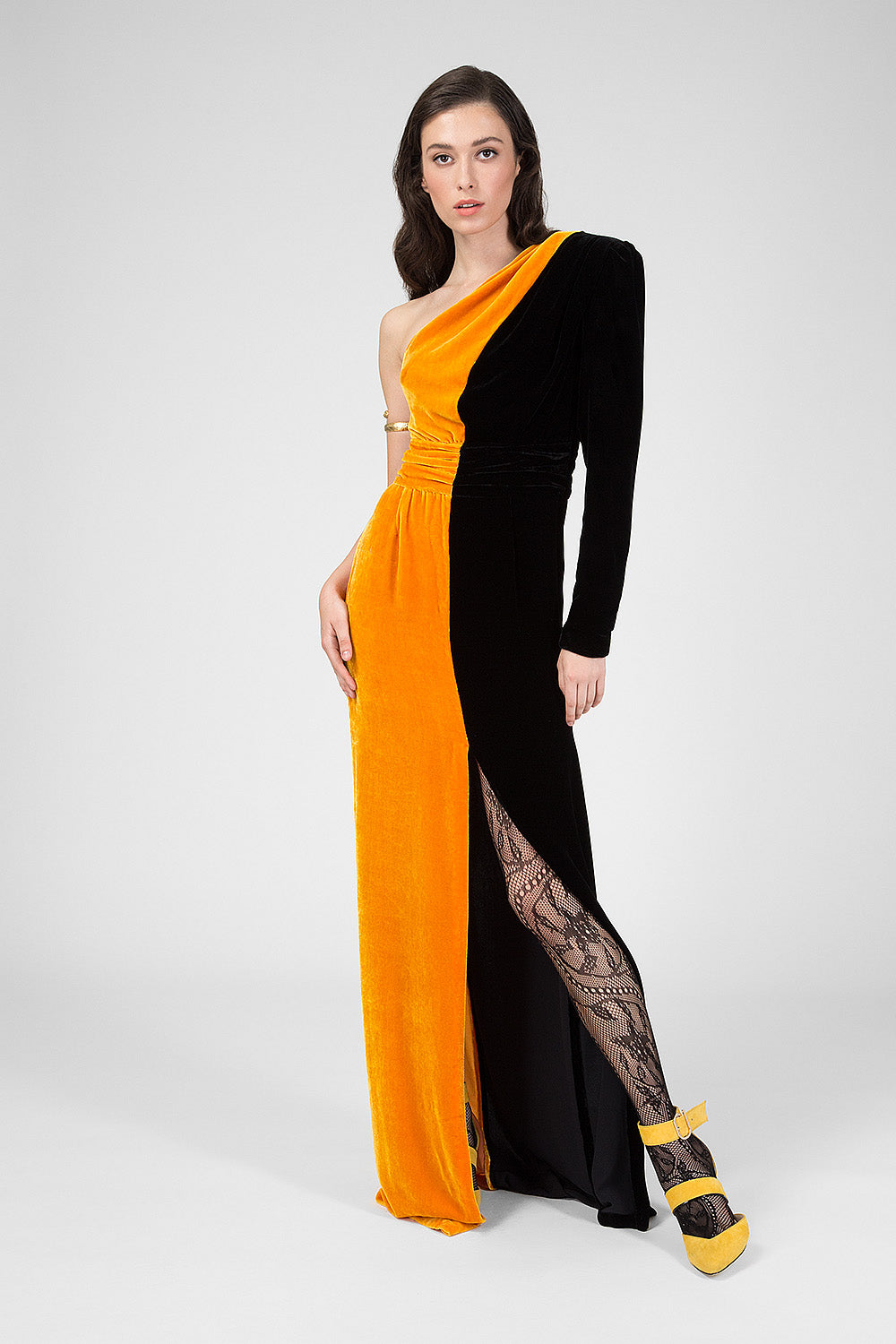 Black velvet full-length dress