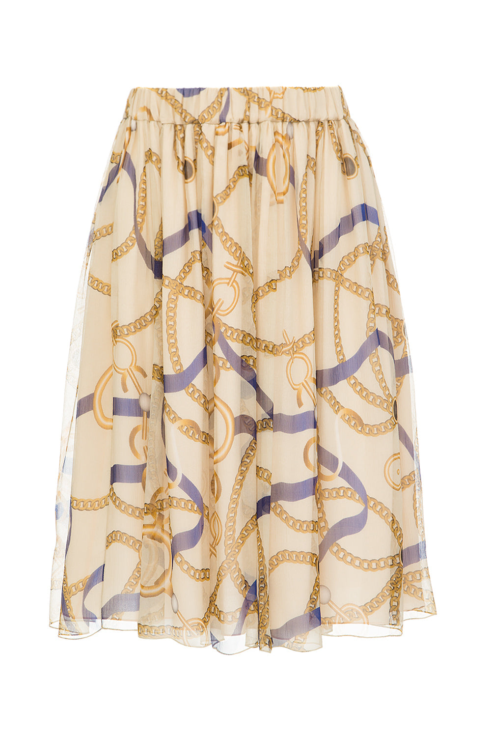 Beige silk printed skirt