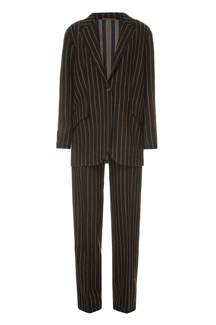 Brown wool striped trousers