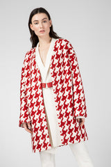 Red coat with a pattern