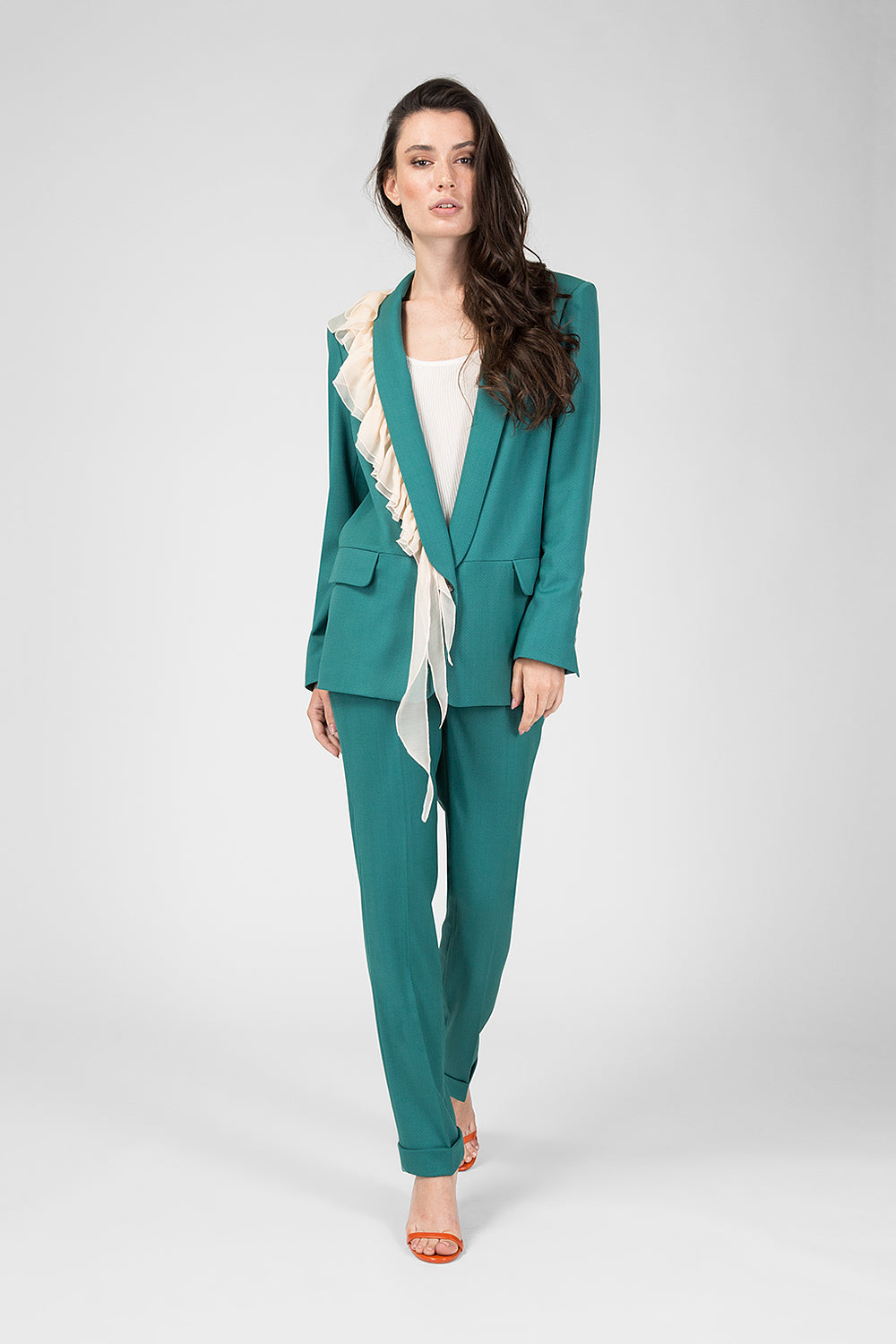 Green suit with ruches