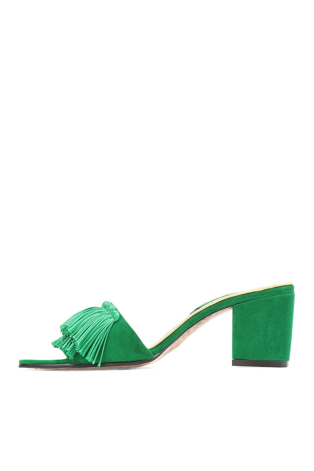 Green leather mules