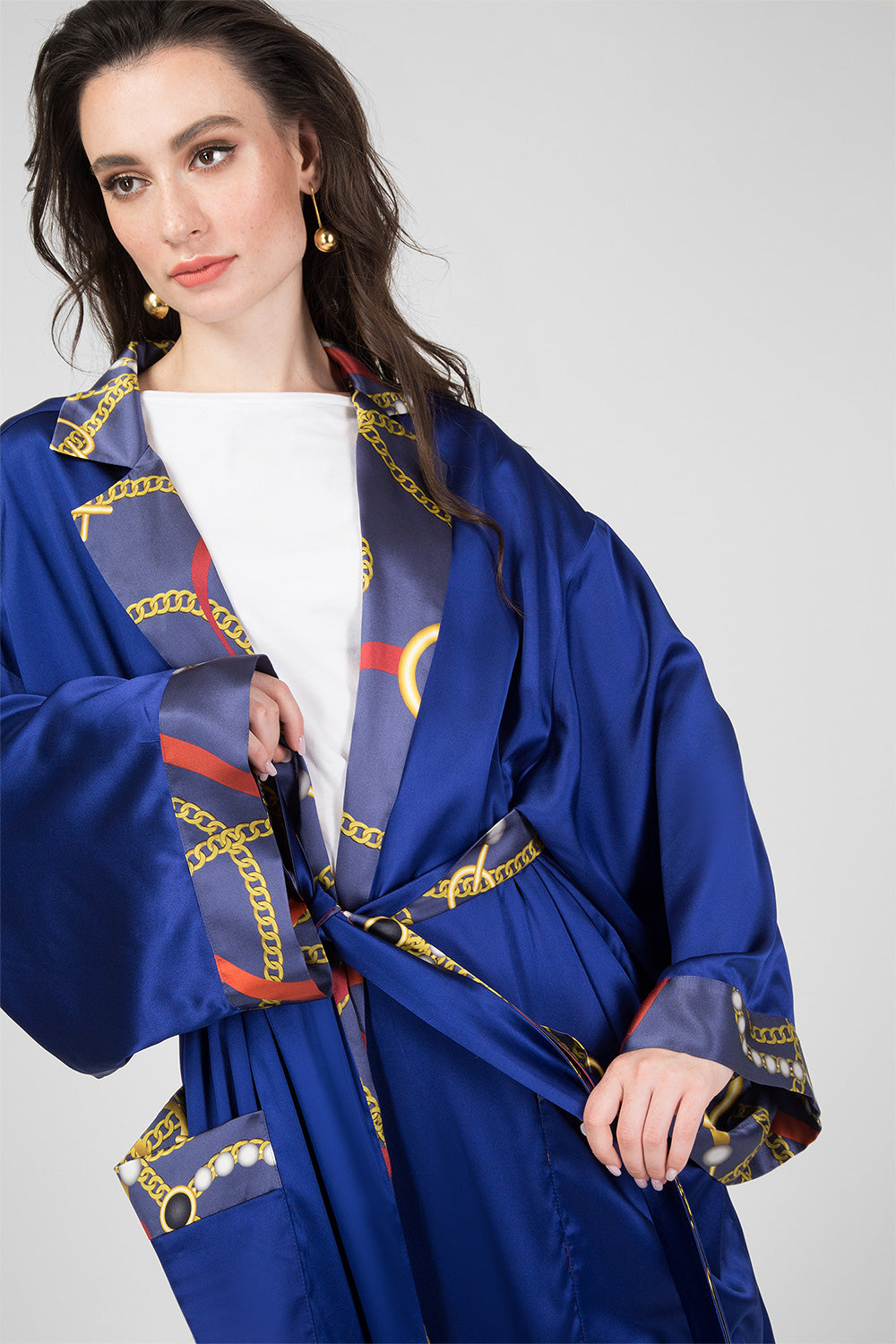 Blue Silk Double-Sided Dressing Gown with Print