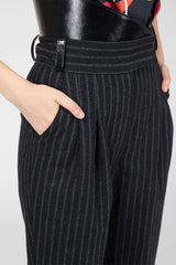 Black striped wool trousers