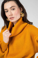 Orange knitted sweater