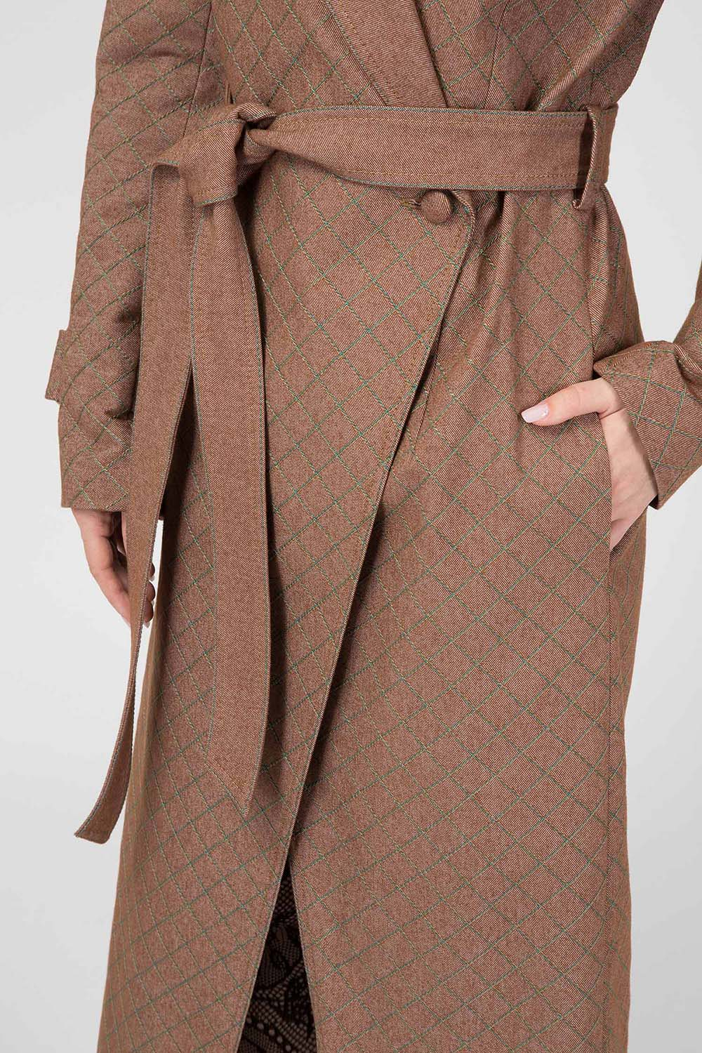 Brown Quilted Denim Trench