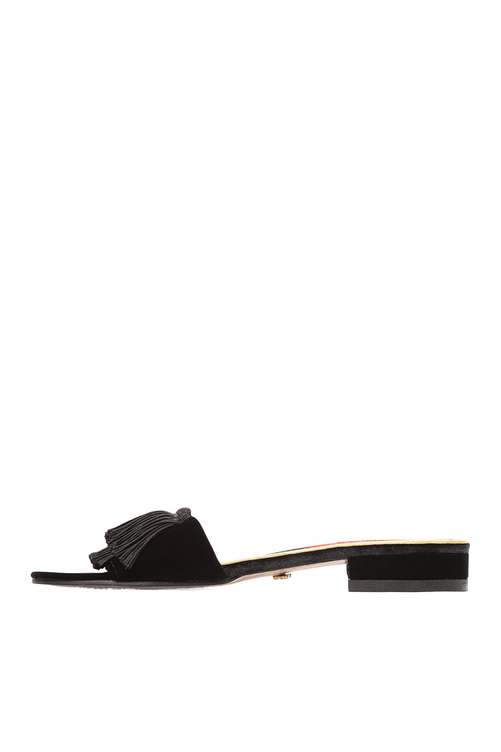 Black leather mules