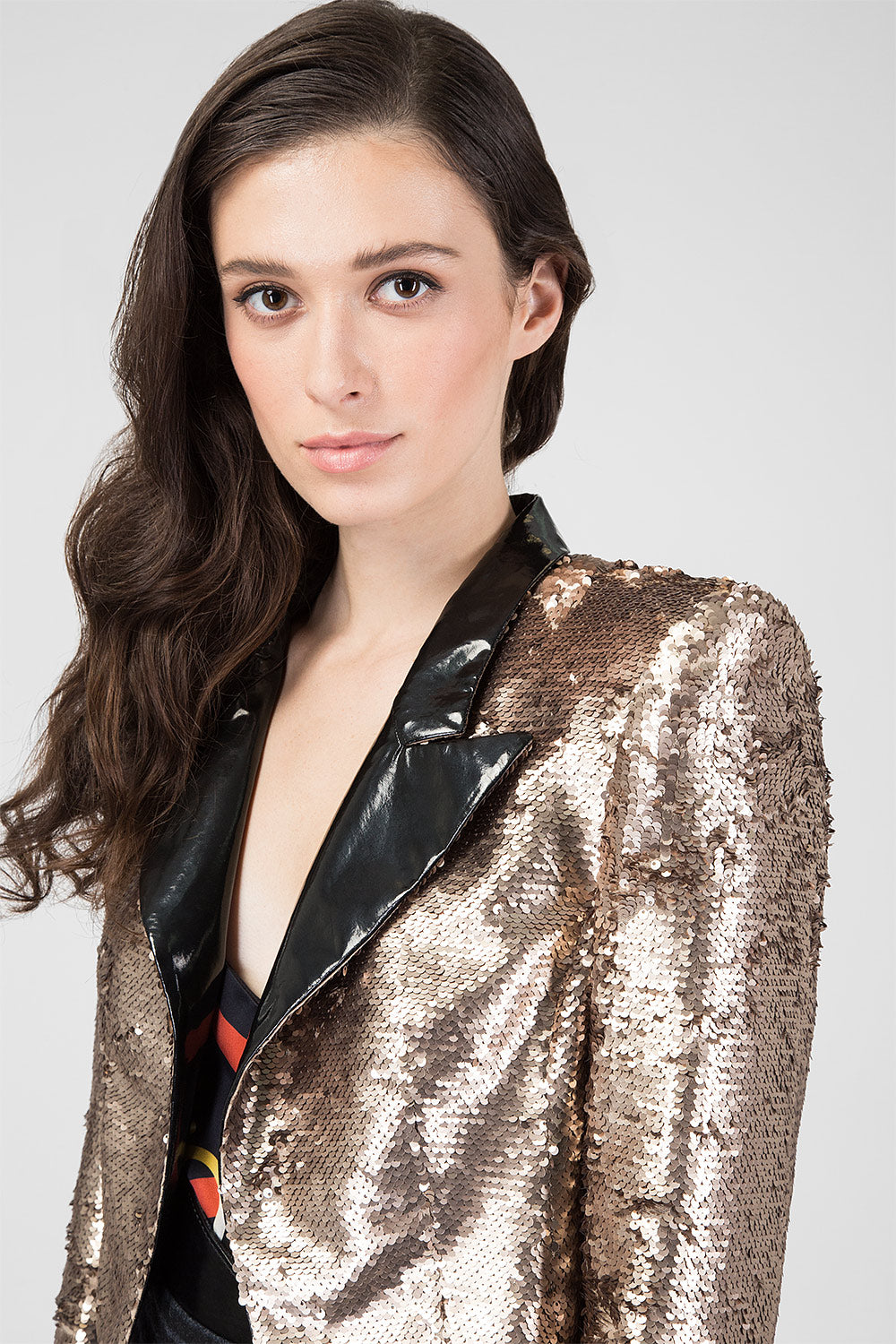 Gold shorted jacket with reversible sequins