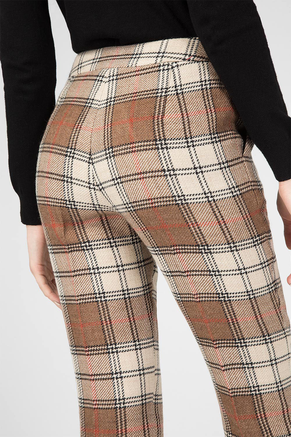 Beige Check Wool Trousers