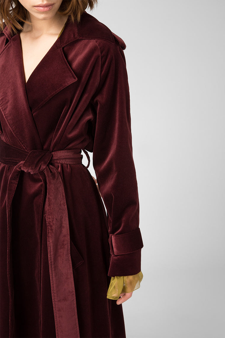 Bordeaux velvet trench