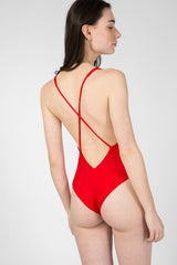Red swimsuit with embroidery