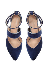 Blue velvet shoes