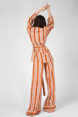 Beige silky striped pajamas (shirt, trousers)