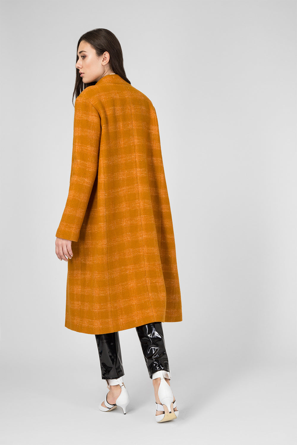 Checked Terracotta Wool Coat