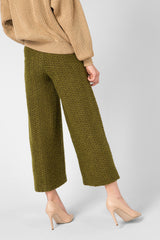 Green wool culottes